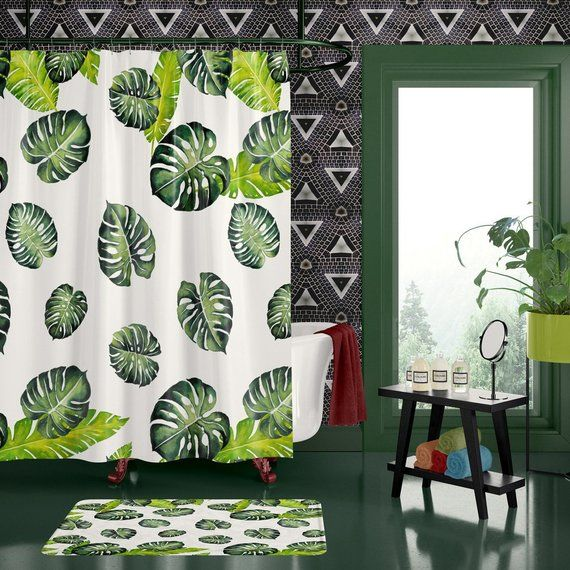Tropical Bathroom Shower Curtain Jungle Green Palm Leaves