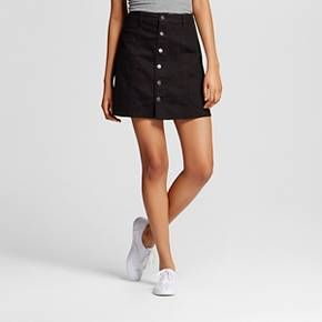 Women's Button Front Skirt Black 2 - Mossimo Supply Co. (Juniors') : Target