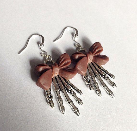 Brown Bow Skeleton Earrings by TeacupRose on Etsy