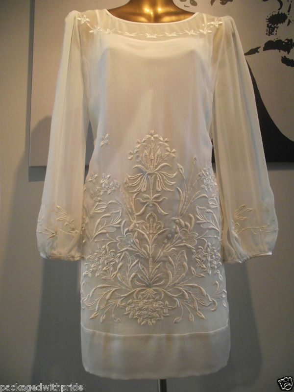 Monsoon Bridal Ivory Embroidered Heskin Silk Tunic Beach Wedding Dress Cami 10 Ebay 55 Cute Stuff Pinterest And