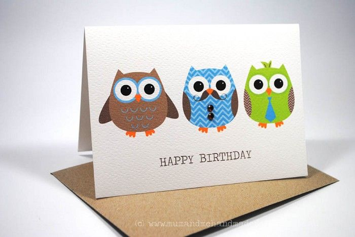 Happy Birthday Card - Male - 3 Men Owls - HBM046 Handmade