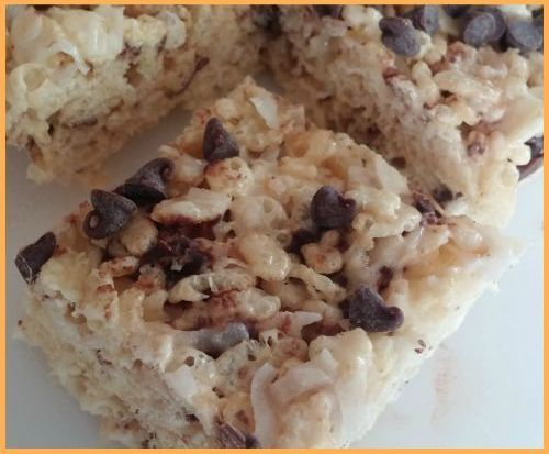 Chocolate Chip Rice Krispie Treats--I combined this with the pudding mix Rice Krispie treat recipe.  The chocolate chips were great in it!