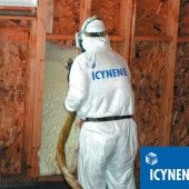 Spray Polyurethane Foam (SPF) is a mixture of chemicals that react and make a foam. When the chemicals are mixed the reaction occurs very fast. The mixture expands many times its original size and fills gaps and cracks in construction making it a very effective insulation and air seal.