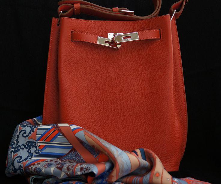 So Kelly bag, 22 cm in Sanguine and L\u0026#39;ivresse de L\u0026#39; infini scarf ...