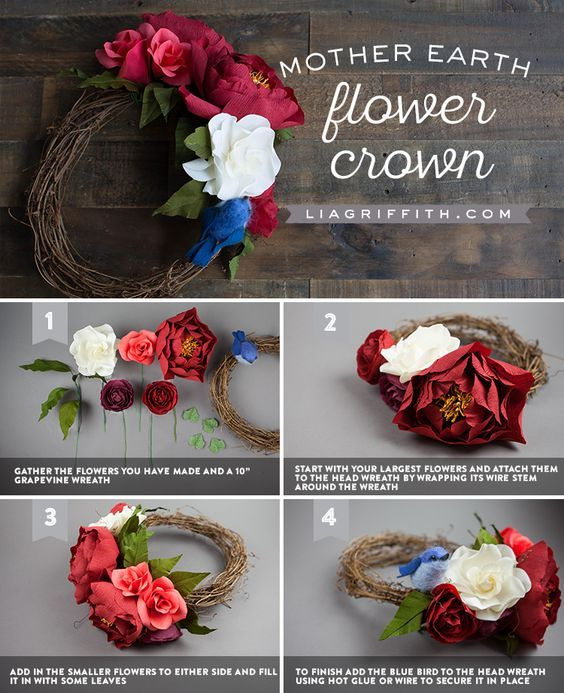 Mother Earth Costume and Head Wreath - www.liagriffith.com #diyinspiration #diyhalloween #diycostume #diyhalloweencostume #paperflower #paperflowers #paperart #papercut #flowercrown #madewithlia
