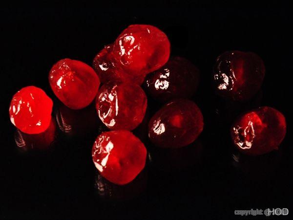 Bigarreau rouge, fruit sec.