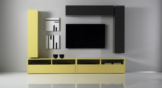 Build your own Wall Unit Composition using the units from Box Combi line. On the main picture the TV Unit shown as Two Black TV Stands and Three Yellow and Black Hanging Units. All outside surfaces (fronts, tops, and sides) are hi-gloss lacquer over melamine.