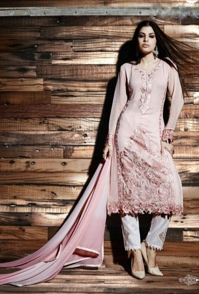 Pink embroidered trouser suit with dupatta - Desi Royale