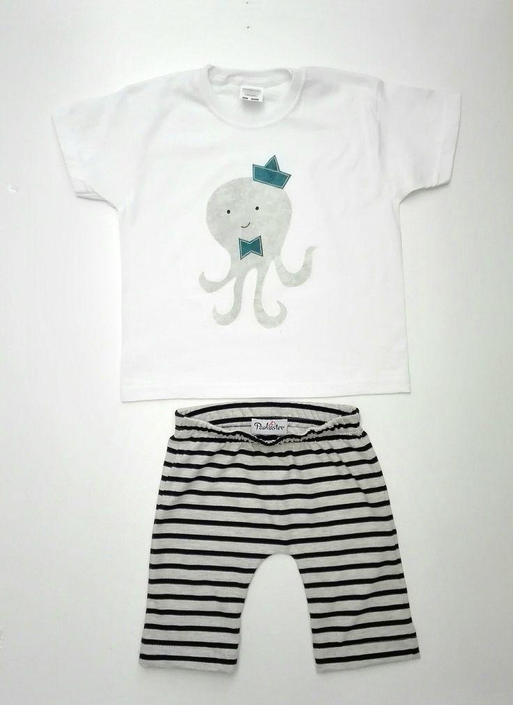 Completo bambino, t-shirt, completino bambino,  maglietta estiva, pantaloncini bimbo, applique, abbigliamento bambino, regalo per bambino di Paulaster su Etsy