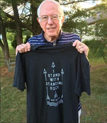 Bernie Sanders stands with standing rock. Even if you did not vote or voted for him. Sanders has been the only one to come several times to standing rock, has spoke with the people, been in our camps, and is helping all he can.