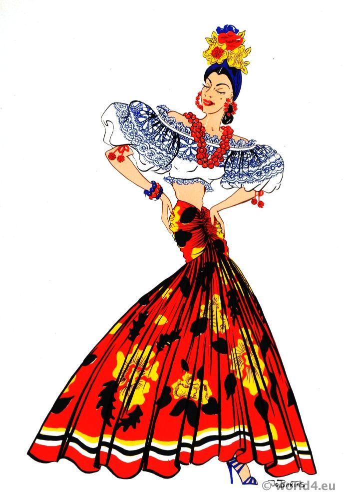 Latin American folk dress Archive - Costume and Fashion History.  In the night clubs of Rio de Janeiro and other large Brazilian cities, one occasionally sees the Hollywood type of performer, whose exaggerated rhythms and fantastic costume bear little relation to native tradition.