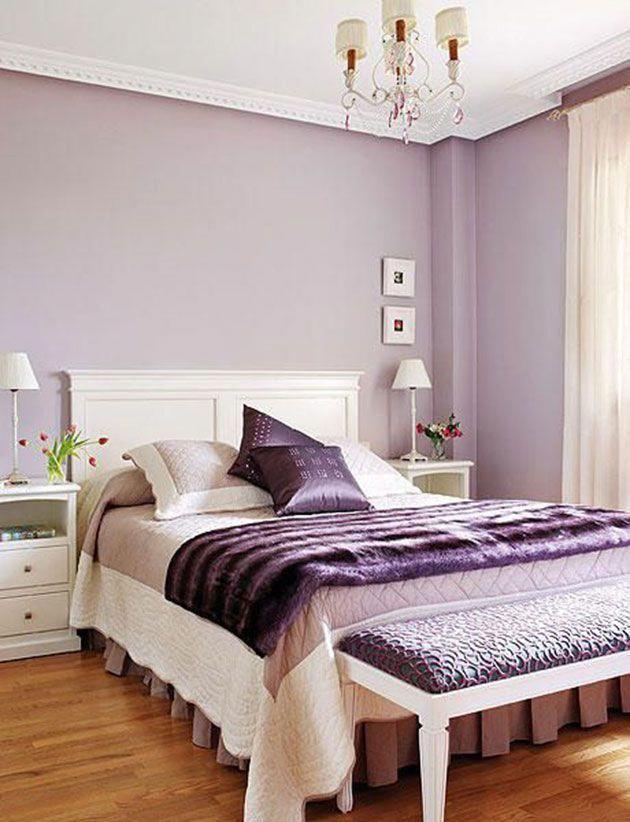 rustic bedroom design purple color scheme   Dormitorio decorado y pintado en color lavanda # ...