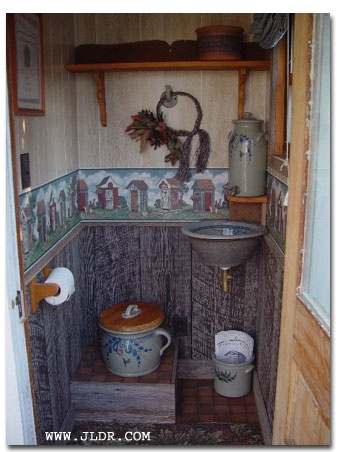inside the outhouse  --a  bit 1970ish but a cute idea.