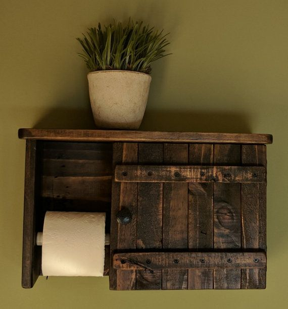 Toilet Paper Holder & Cabinet with Shelf made from Rustic Reclaimed and Repurposed Pallet Wood