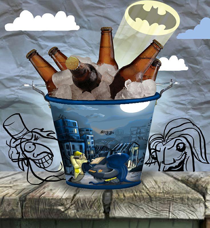 BatBalde - Até os vilões vão querer fazer amizade com o Batman! Balde de gelo de alumínio.