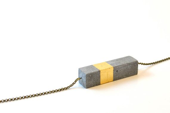 Concrete necklace bar with golden ratio gold cube / Cement necklace / Concrete Jewelry / Brutalist Jewelry / concrete and gold