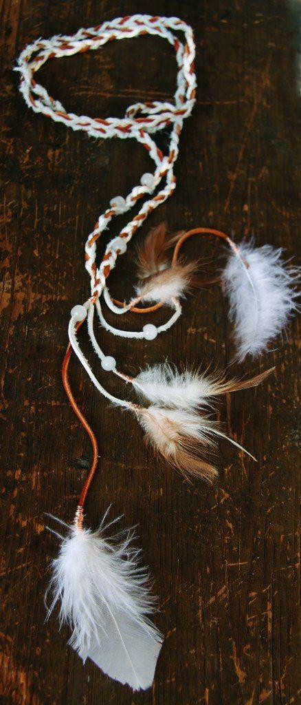 Украшение на шею,голову из кожи,перьев и камней.