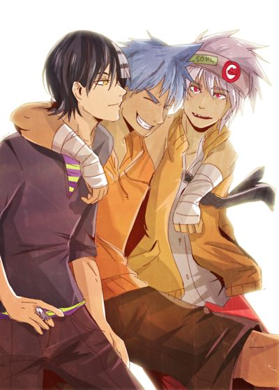 The Soul Eater boys. Black*Star is just so cute in every drawing ever.