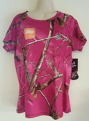 Womens's REALTREE AP CAMO Dark Pink Wicking Performance Tee Shirt LARGE NWT