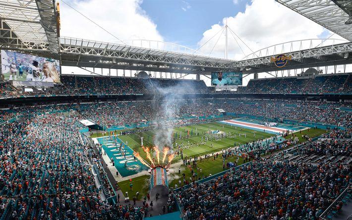 Download wallpapers Hard Rock Stadium, Miami Dolphins, 4k, American football stadium, Miami, Florida, USA, sports arena, Pro Player Stadium