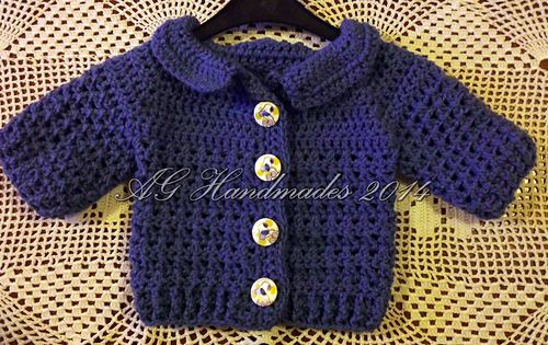 Cross Stitch Baby Cardigan  by ag handmades - Free baby sweater crochet pattern