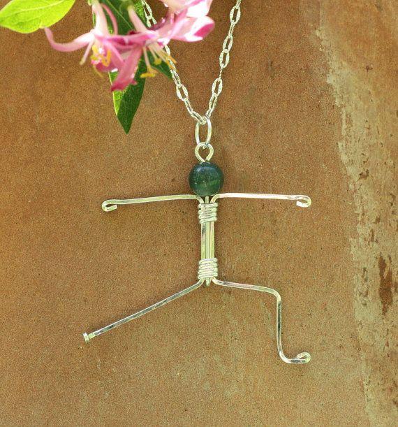 Yoga pendant, warrior 2 yoga pose, namaste, sterling silver
