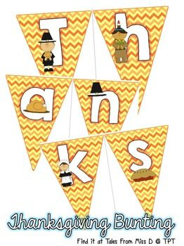 "Celebrate Thanksgiving in your room with this cute bunting banner! Reads ""Happy Thanksgiving!""."