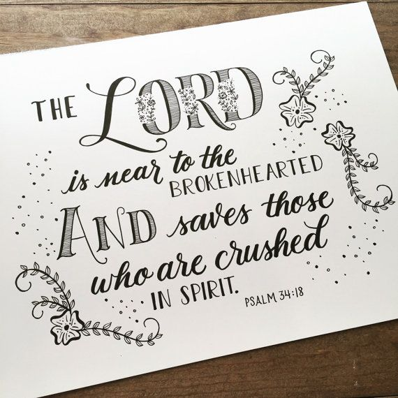 Sympathy, Bereavement, Scripture Hand Lettered, Hand Lettering, Scripture Decor, Scripture Print, by HandletteredTruth