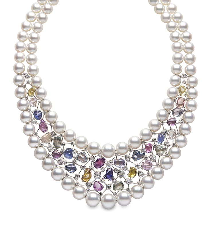 Yoko London white gold Aurora necklace from the Masterpiece collection featuring Australian South Sea #pearls, multi-coloured sapphires and diamonds.