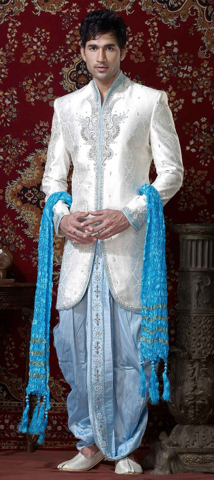 12108: White and Off White color family Dhoti Sherwani.
