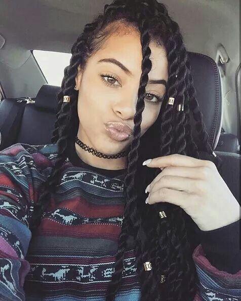 A long twist braid hairstyle. Very cute! @_suzieblaque http://thirstyroots.com