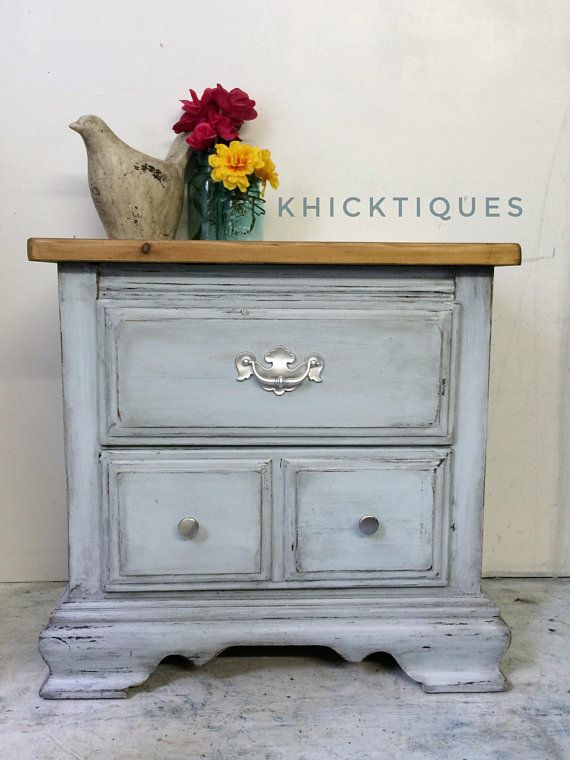 Farmhouse Nightstand Heavily Distressed Light Blue Wooden Vintage Side Table Painted Furniture Rustic Nightstand