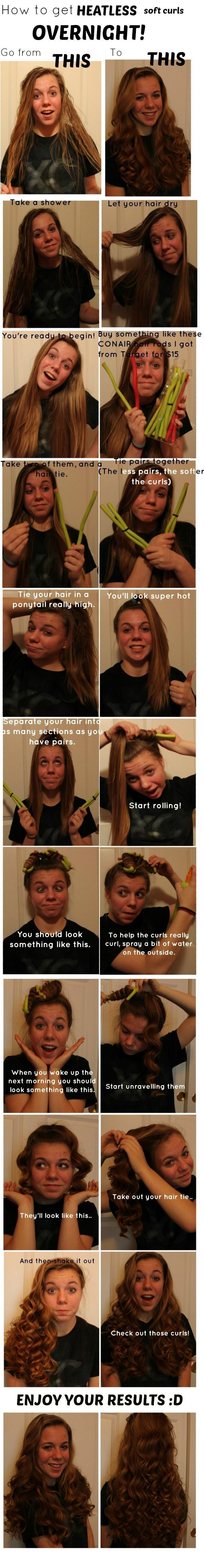 Heatless curls? Hmmm... Got to try this out - I wonder if Pipe cleaners would work....