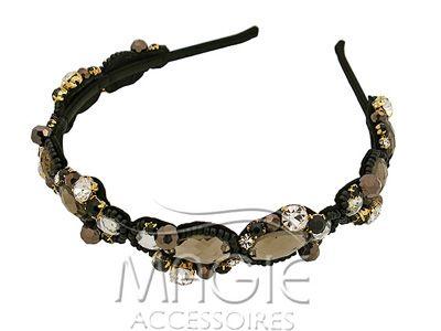Черный  ободок для волос с декоративным элементом. Шелк, Кристаллы Swarovski, Бусины, Стеклярус.