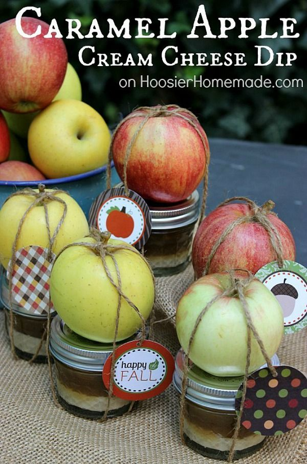 CARAMEL APPLE CREAM CHEESE DIP -- This Fall Treat is easy to put together and makes a GREAT gift too! FREE Printable Tags included with Recipe!