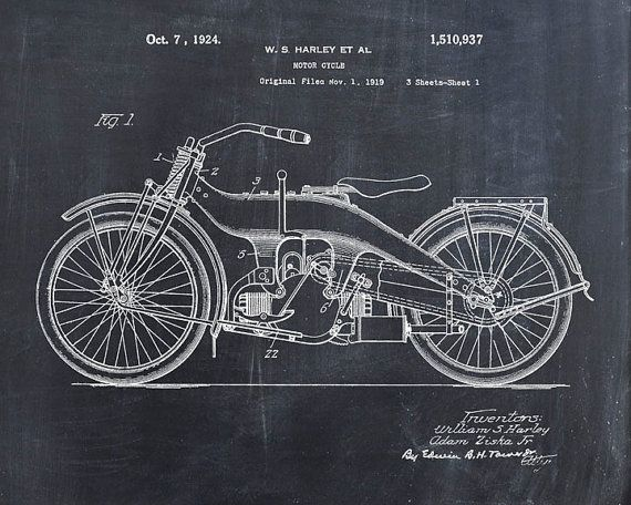 Patent Print of a Harley Motorcycle Patent Art by VisualDesign, $6.95