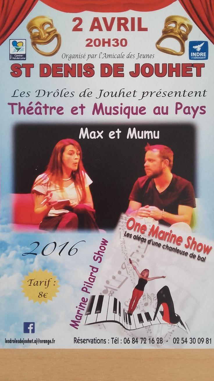 Festival musique et théâtre, Saint-Denis-de-Jouhet, Salle des fêtes, Samedi 2 Avril 2016, 20h30 > 23h30