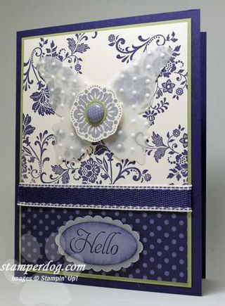 Stampin Up; Fresh Vintage; Love the embossed vellum butterfly!