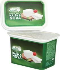 Queso Kriska Nova salmuera al 48%, 400 g. El contenido de grasa en la materia seca del 45%. Рассольный продукт Delakates Kriska Nova