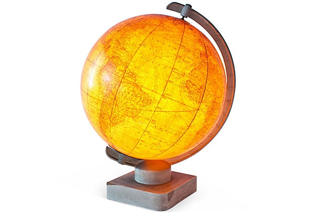 Dark gold and ivory glass globe with interior light. Wired for use; 15''H x 12''Dia.