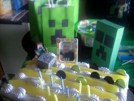 My sons 10 th. Birthday minecraft.....lemon shortcake