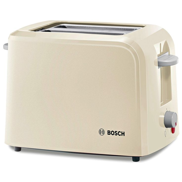The #Bosch Village Collection TAT3A017GB 2-slice toaster has a stylish sleek cream finish that will add a modern touch to your kitchen. This #toaster boasts a number of features including wide slots, which allow you to toast a variety of different breads and a handy reheat function, which brings cooled toast back up to the right temperature without burning it.
