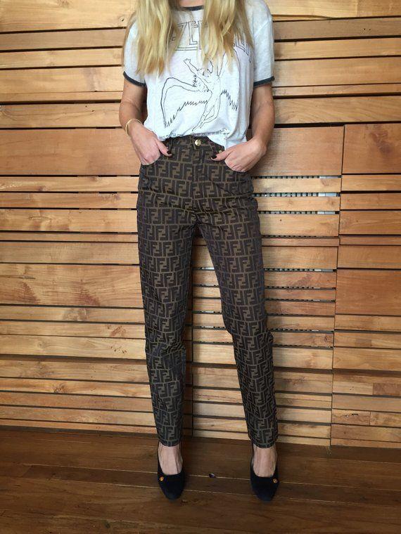 31c151a8a89 Vintage 90 s FENDI FF Zucca Monogram Brown Black Pants   Etsy ...