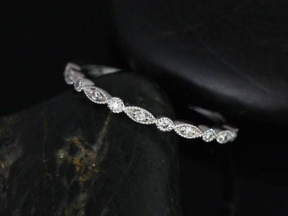 Ultra Petite Bead & Eye Platinum Vintage WITH Hand Milgrain Diamonds HALFWAY Eternity Band (Available in other metals)
