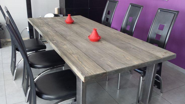 Meuble industriel table de salle a manger industriel acier et bois grisé : Meubles et rangements par m-decoindustriel