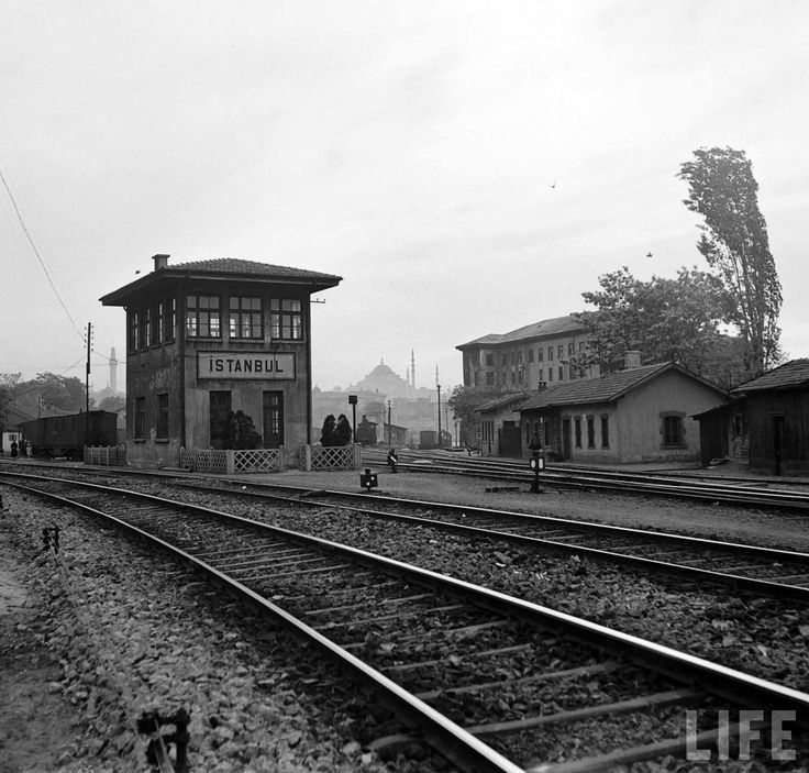 Railway yard and signal box at Istanbul Sirkeci | Photo: Jack Birns, 1950