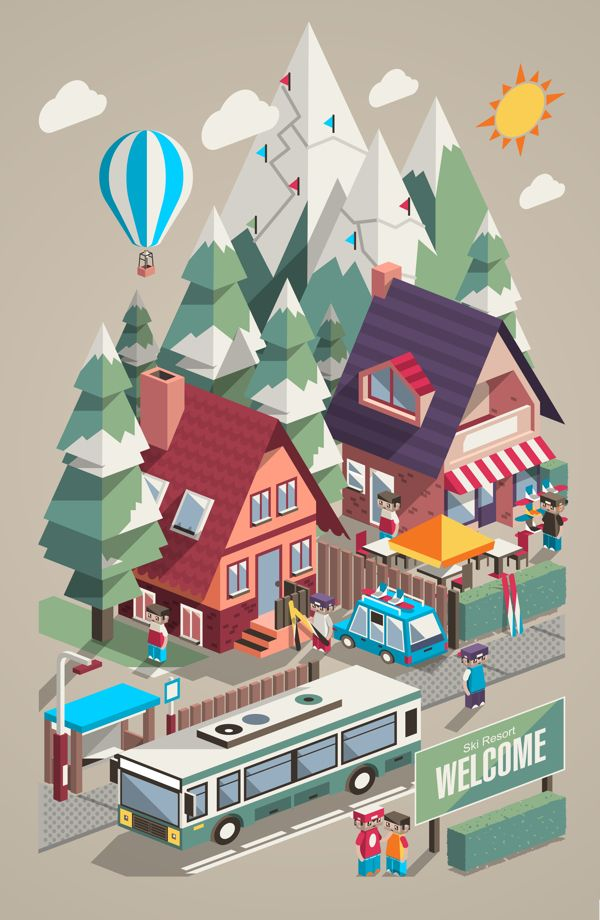 Illustration / Ski Resort & Snowboarding on Behance