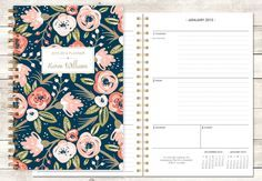 2015 2016 planner calendar choose start month | custom weekly student planner | personalized planner agenda | pink navy gold floral pattern by posypaper on Etsy https://www.etsy.com/listing/229247055/2015-2016-planner-calendar-choose-start