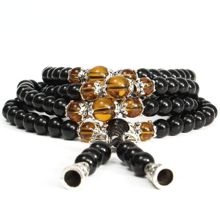 108 Buddhist Prayer Mala Bead Obsidian Bracelet