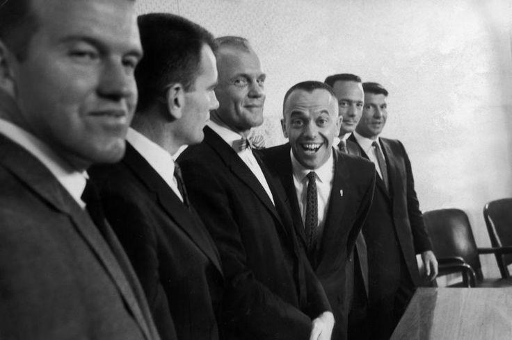 (L-R) Six of the original seven Project Mercury astronauts: Gordon Cooper, Deke Slayton, John Glenn, Alan Shepard, Scott Carpenter and Wally Schirra, press conference, 1961.
